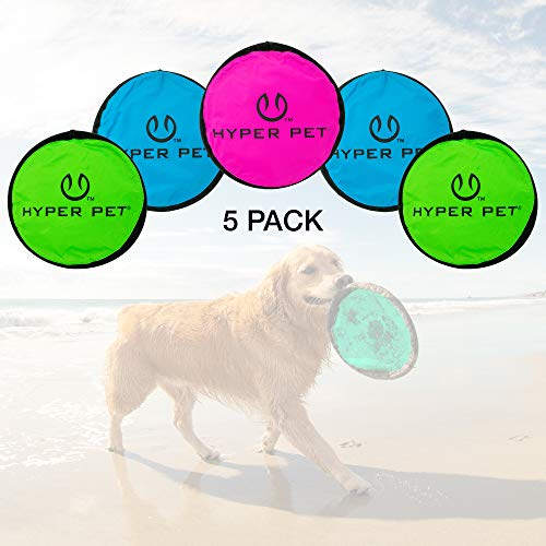 Hyper Pet Flippy Flopper Dog Frisbee Interactive Dog Toys [Flying Disc Dog Fetch Toy – Floats in Water & Safe on Teeth] (Pack of 5, Colors Will Vary)