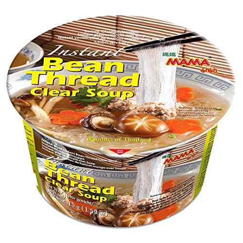 MAMA Bean Thread Soup Bowl Instant Rice Noodles with Delicious Thai Flavors, Hot & Spicy Noodles with Bean Thread Soup Base, No Trans Fat (Bean Thread Soup Flavor, 6 Pack)