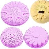 Silicone Torta Stampo, 3 Pezzi a Forma di Fiore in Silicone Cake Bread Pie flan Tart Molds, Grande Rotonda Girasole crisantemo Forma Antiaderente teglie –Viola