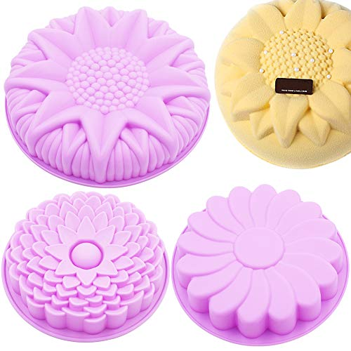 3PCS Flower Shape Silicone Cake Pan Bread Pie Flan Tart Molds, Large Round Sunflower Chrysanthemum Shape Non-Stick Baking Trays for Birthday Party DIY, Purple