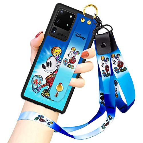 DISNEY COLLECTION Samsung Galaxy S20 Ultra 5G Case, Mickey Mouse Street Fashion Wrist Strap Phone Cover Full-Body Bumper Lanyard Case for Galaxy S20 Ultra 5G 6.9 Inch 2020