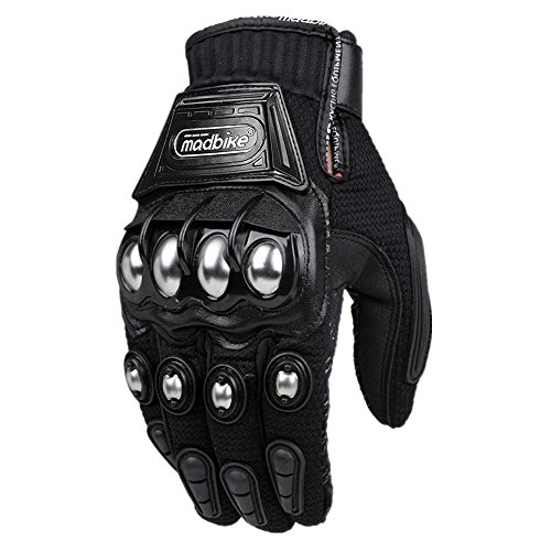 ILM Steel Knuckle Motorcycle ATV Motocross Dirt Bike Racing BMX MX Downhill Tactical Gloves Touchscreen (M, BLACK)