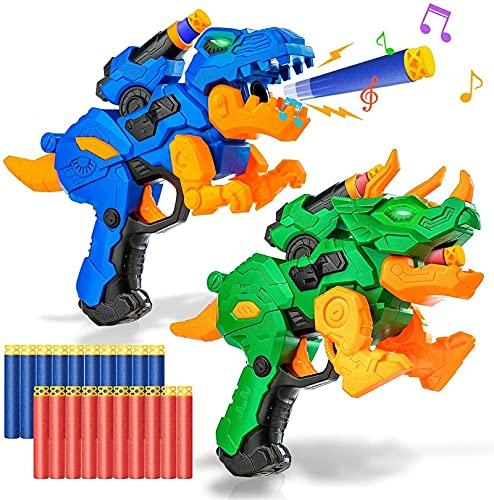 2 Pack eléctrico Blaster Pistolas de Juguete para Juguetes de Dinosaurios de...
