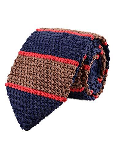 WANYING Herren 7cm Schmale Strickkrawatte Gestrickte Narrow Krawatte Retro Sporty Casual Büro Basic für Gentleman - Gestreift Dunkelblau Braun Rot