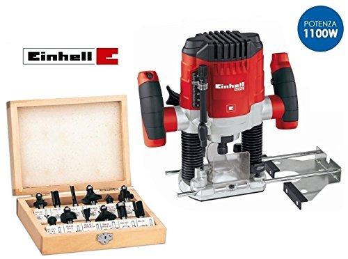 Fresatrice verticale 1100W con set 12 frese in box di legno Einhell...