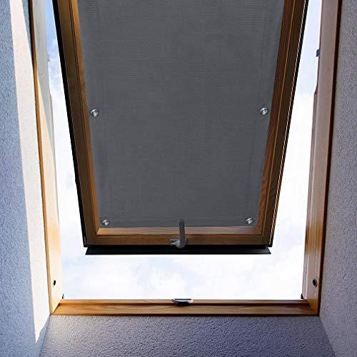 iKINLO 48 * 93cm Dachfensterrollo Grau UV Schutz Verdunkelungsrollo Sonnenschutz ohne Bohren für Velux F06 und 206 Dachfenster mit Saugnäpfe