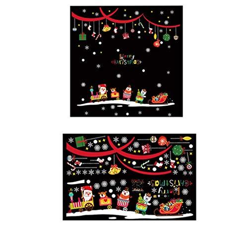 Christmas Train Holiday Scene Layout Window Glass Window Flowers Wall Stickers
