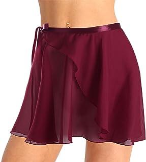 TiaoBug Adult Ladies Ballet Wrap Over Scarf Waist Tie Dance Leotard Skate Tutu Skirt Chiffon