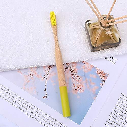 Bambus-Zahnbürste Natürlicher Bambusgriff Runder Griff Rundes Umweltmaterial Clean Cavity 5 Zahnbürste - Gelb