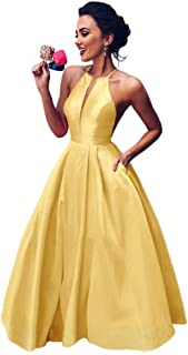 Jonlyc Women's A Line Halter Sleeveless Satin Long Prom Evening Dress with Pockets