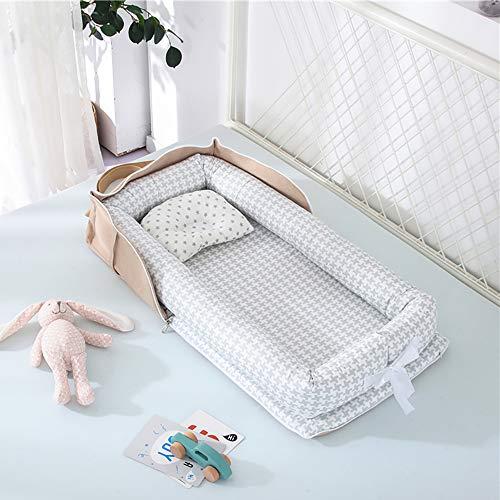 Luddy ベビーベッド 新生児 枕付き ベッドインベッド 折りたたみ式 携帯型ベビーベッド 添い寝 ポータブル 出産祝い 通気性抜群 洗濯可能 0-24ヶ月 グレー 85*45*12cm