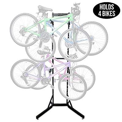 RaxGo Bike Storage Rack, 4 Bicycle Garage Floor Stand, Adjustable, Freestanding, Adjustable Hooks, for Mountain & Road Bicycles, Universal for Indoor Use