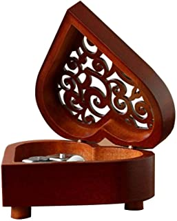 KOBWA Musical Box Heart Shaped Vintage Wood Carved Mechanism Wind Up Music Box Gift for Christmas/Birthday/Valentine's Day, City of The Sky