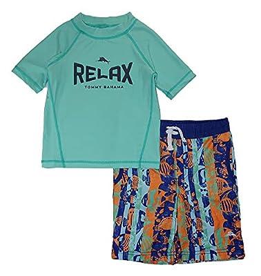 Tommy Bahama Boys' Rashguard and Trunks Swimsuit Set (6, Mint Relax)