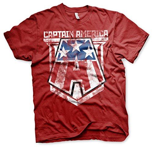 Captain america Oficialmente Licenciado Distressed A Hombre Camiseta (Tango Rojo)