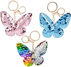 Rhode Island Novelty 3 Inch Flip Sequin Plush Butterfly Keychains Set of 3 Styles May Vary