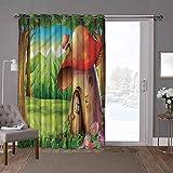 YUAZHOQI Cortinas aisladas para puerta corredera, setas, bosques de margaritas de montaña, 100 x 108 pulgadas (1 panel)