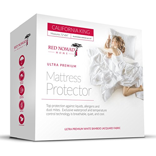 Red Nomad Waterproof Mattress Protector - Bamboo Hypoallergenic Bed Cover with Breathable Cooling Cycle Technology...