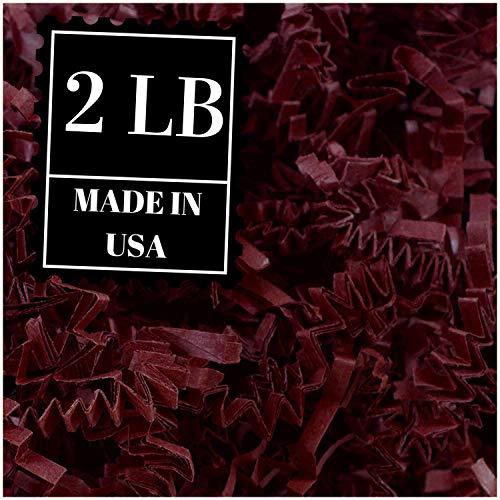 Crinkle Cut Paper Shred Filler for Packing and Filling Gift Baskets, Natural Craft Bedding (2 LB, Burgundy)