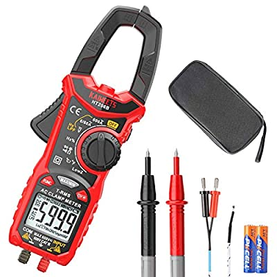 KAIWEETS Digital Clamp Meter T-RMS 6000 Counts, Multimeter Voltage Tester Auto-ranging, Measures Current Voltage Temperature Capacitance Resistance Diodes Continuity Duty-Cycle