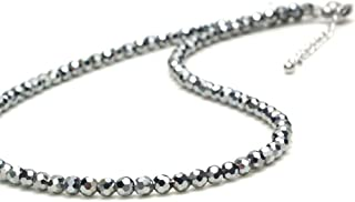 [Amazon限定ブランド] Beautéller テラヘルツ 4mm ダイヤモンドカット テラヘルツ鉱石 原石 パワーストーン 天然石 健康アクセサリー (ネックレス 60cm)