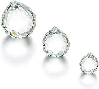 Set of 3 Clear Crystal Ball Includes 20/30/40mm Faceted Prism Balls Suncatcher for Ceiling Lighting Chandelier Hanging Dec...