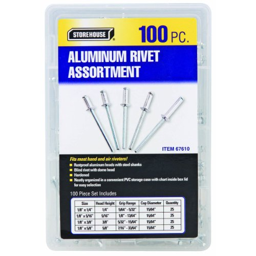 100 Piece Aluminum Blind Rivet Assortment with Organizer Case