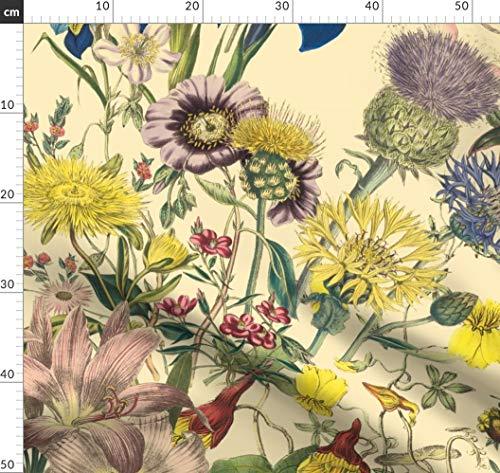 Blumen, Botanisch, Altmodisch, Redouté, Ranken Stoffe - Individuell Bedruckt von Spoonflower - Design von Peacoquettedesigns Gedruckt auf Leichter Baumwoll Twill