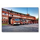 CALVENDO Premium Textil-Leinwand 90 x 60 cm Quer-Format Löschzug BF Braunschweig, Leinwanddruck von Markus Will