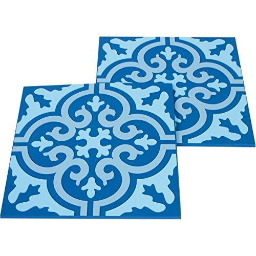 Planet Ethnic Blue Moroccan Tile Washable Durable Unbreakable Soft PVC Designer Trivet Set. 2 Trivets, 7 inch square with 0.2 inch thickness. Protect your tables from hot plates, pots.