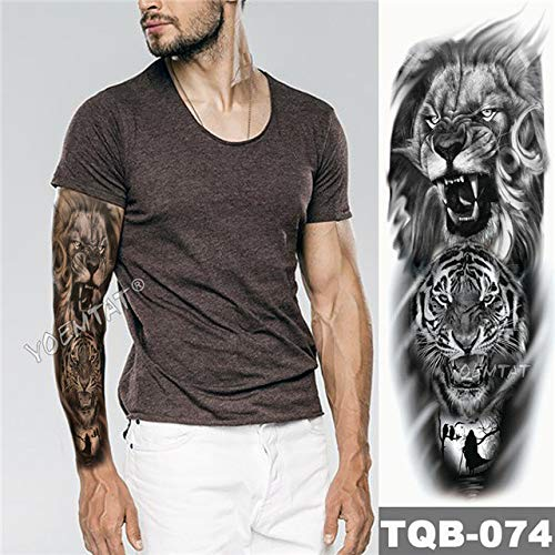 Impermeable Golden Dragon Lotus Big Arm Sleeve Tattoo Japanese Wave Animal Hombre Mujer Totem