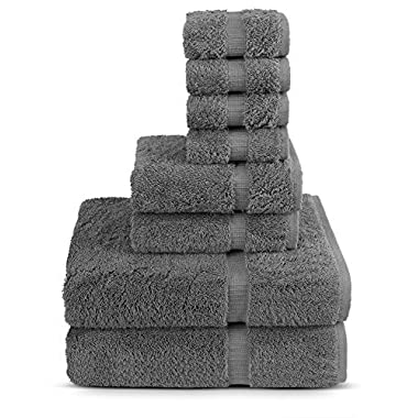 Turkuoise Turkish Towel 8-Piece Cotton Towel Set, Grey