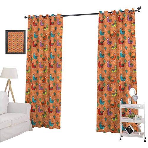 Aishare Store Room Darkening Window Treatment Drape, Cactus,Colorful Alpacas Flower, 84 Inches Long Blackout Curtains for Kitchen, Set of 2 Panels