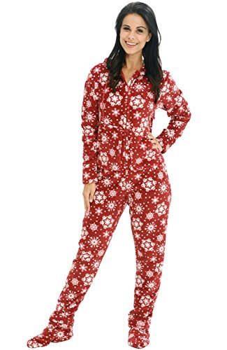 Alexander Del Rossa Women's Warm Fleece One Piece Footed Pajamas, Adult Onesie with Hood, Medium Red Snowflake (A0322P34MD)