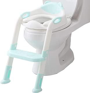 Potty Seat Toilet Boys Girls, Toddler Potty Training Seat Ladder, Adjustable Kids Toilet Trainer Seat Chair (Blue)