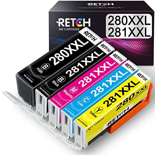 RETCH PGI 280 CLI 281 XXL Compatible Ink Cartridge Replacement for Canon 280 281 PGI-280XXL CLI-281XXL for Canon PIXMA TR8520 TR7520 TS8220 TS9120 TS6120 TS6220 TS8120 TS9520 Printers (5 Pack)