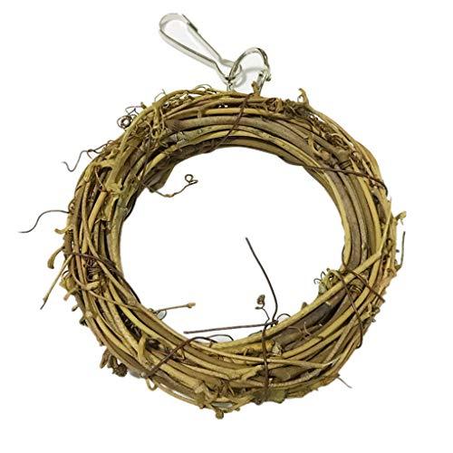 YJS natuurlijke rotan hoepel vogel kauwen speelgoed huisdier beten klim kauwen swing kooi opknoping accessoire, 10cm, 1 exemplaar