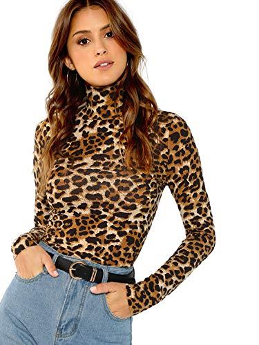 DIDK Damen Rollkragenpullover Slim Fit T-Shirt Oberteile Shirts Tunika Langarmshirt Schmal Pulli Casual Pullover Tee Leopard#3 S