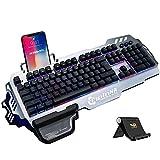 Normia Rita 104 Laut Klickt Gaming Tastaturen mit Mechanischem Feeling, Hintergrundbeleuchtung RGB LED Gaming-Tastatur, Beleuchtete Mechanical Keyboard mit Handy Halter - gebürstetes Aluminium Grau