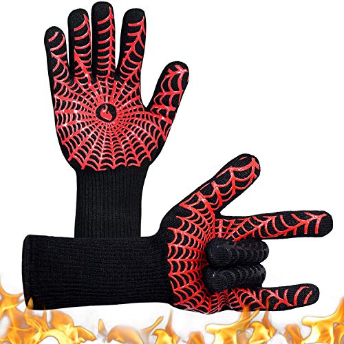 YUXIER Oven Gloves Hot BBQ Grill Gloves1472°F Oven Mitts for Cooking Grilling Kitchen Smoker Baking Barbecue Fireplace Welding Cutting 1 Pair … 138inch Red