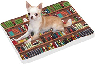 InterestPrint Funny Book Shelves Collection and Ladder for Reading Club Reusable Dog Bed Mat Soft Washable Pet Pad Bed for Dogs & Cats, 42x26 Inch