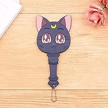 Best Quality - Sailor Moon.Cardcaptor Sakura - Anime Sailor Moon Luna White/Deep Blue Cat Make Up Mirror Handle Cardcaptor Sakura Girls Portable Cosplay Makeup Mirror - by Olwen Shop - 1 PCs