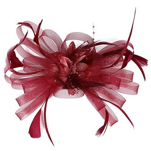 Cappello fascinator in rete con piume e velo, cappello da festa, cappello con fiore Derby con clip e fascia per capelli per donne A-dred 90