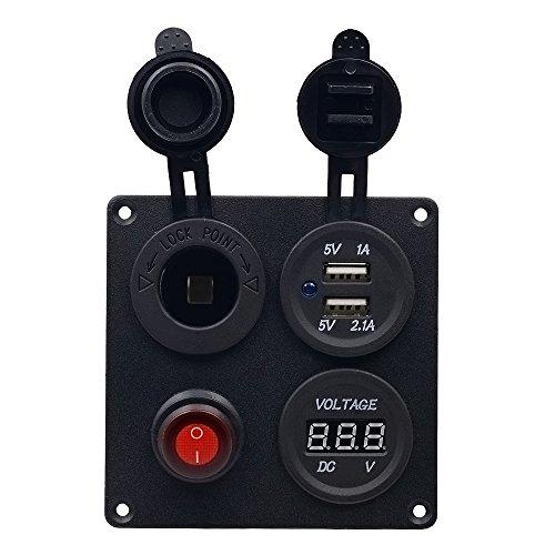 TurnRaise Voltímetro LED con puertos de carga USB duales con enchufe de 12 V, interruptor de encendido y 4 orificios de montaje para automóviles, barcos, camiones, motocicletas Negro