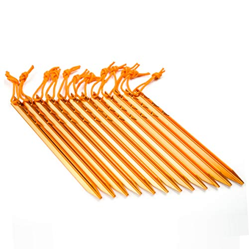 Aluminum Tent Stakes Pegs, 12-Pack Aluminum Ground Pegs with Reflective Pull Ropes, Heavy Duty Tri-Beam Metal Stakes Pegs for Backpacking Camping Tents Hammocks and Canopy (Orange)