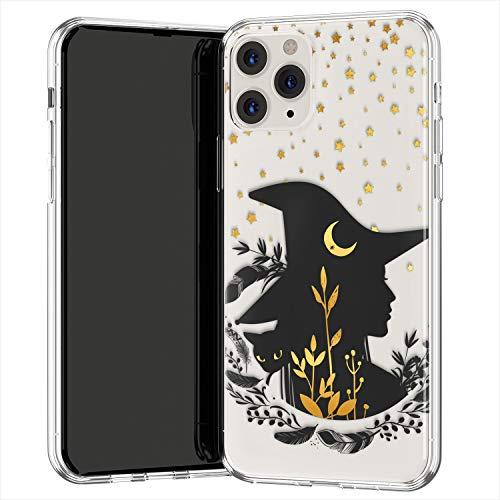 Lex Altern TPU Funda para Apple iPhone 12 Pro SE 11 XS MAX XR 8 7 Plus 6 + Bohemian Witch Transparente Noche Magic Carcasa Delgado Golden Cubierta Ligera Estrellas Negra Gata uk0571