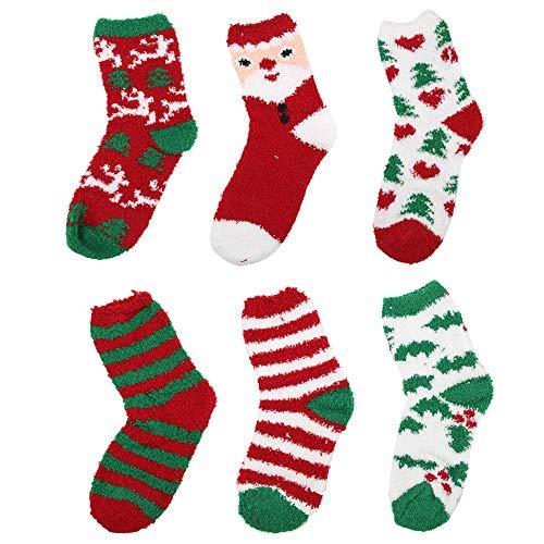 Homo Trends 6 Paar Flauschige Weihnachtssocken Kuschelsocken Flauschige Socken Geschenkset mit Schneeflocke Elch Schneemann Weihnachtsbaum Muster Weihnachtssocken für Jungen Mädchen Frauen Weihnachten