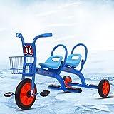 WLWWY Triciclo para Niños, Asa De Bicicleta Trike Asientos Gemelos para Bebés, Niños Pequeños, Automóviles De Juguete, Gemelos, Automóviles Al Aire Libre,Blue