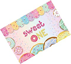 FRCOLOR Sweet One Birthday Backdrop First Donut Birthday Photo Background Banner for Baby Girls Sweet 1st First Party Favo...