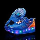 Zapatos de patinaje con ruedas LED USB para niños con luz de ruedas para niños (tamaño: 42, color: azul)
